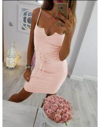 Розова дамска рокля по тялото с отворено деколте - код 334