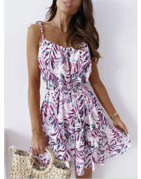 Лятна рокля с флорални мотиви в лилаво - код 1414