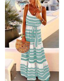Дълга рокля с атрактивен десен в цвят мента - код 621