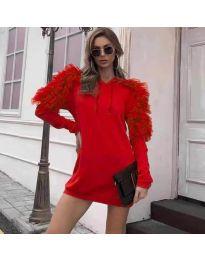 Ефектна дамска рокля в червено - код 6383