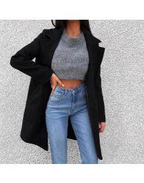 Дълго дамско палто в черно - код 950
