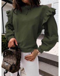 Дамска блуза в маслено зелено - код 6613