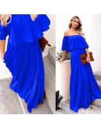 Синя плисирана дълга рокля - код 396