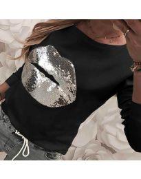 Ефектна дамска блуза в черно - код 3963