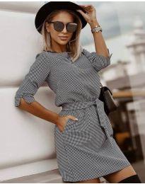 Стилна рокля с ефектен десен - код 3060 - 1
