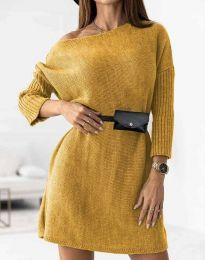 Дамска рокля в цвят горчица - код 5142