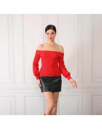 Дамска блуза с лодка деколте в червено - код 0247