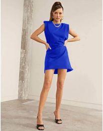 Свободна къса дамска рокля в синьо - код 625