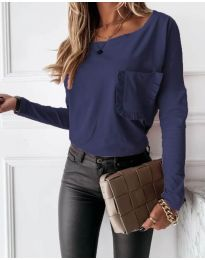Дамска блуза в тъмносиньо - код 4450