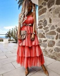 Ефирна дамска рокля с панделка в червено - код 1543