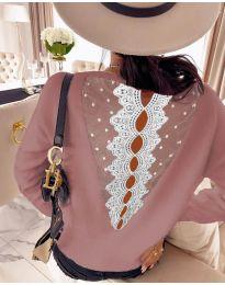 Дамска блуза с дантела в розово - код 7077