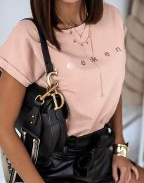 Дамска тениска в цвят праскова с надпис - код 4318