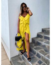 Елегантна рокля в цвят жълто - код 0081