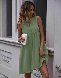 Свободна рокля в цвят масленозелено - код 0286
