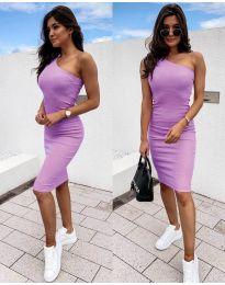 Дамска рокля в лилаво с голо рамо - код 0208
