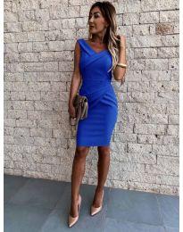 Изчистена рокля в тъмно синьо - код 1104
