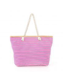 Цикламена плажна чанта на райе  - код H-9030
