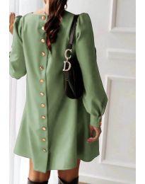 Изчистена дамска рокля в маслено зелен цвят - код 915