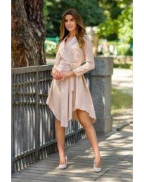 Кафява дамска рокля с дълги ръкави - код 555