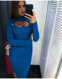Дамска рокля в синьо с ефектно деколте - код 2144