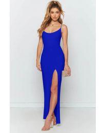 Дълга рокля с цепка в синьо - код 715