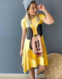 Дамска рокля в жълто с анимация - 2304