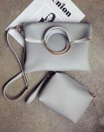 Дамска чанта от две части в светлосиво - код B292