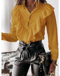 Дамска риза в цвят горчица - код 9032