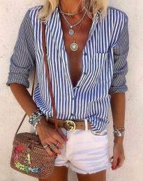 Дамска риза в синьо райе - код 2355