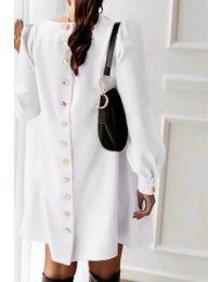 Изчистена дамска рокля в бял цвят - код 915