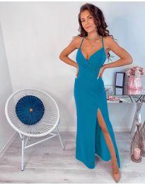 Светло синя дълга рокля с цепка - код 600