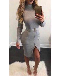 Дамска рокля в сиво - код - 2053