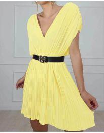 Изчистена рокля в цвят жълто - код 5670