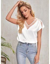 Атрактивна дамска тениска в бяло - код 5754