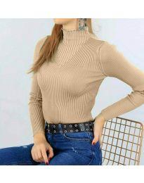 Дамска блуза с поло яка в бежово - код 3800