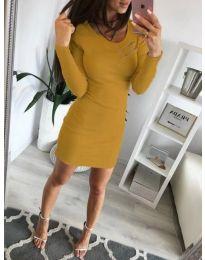 Дамска рокля по тялото в цвят горчица - код 3298
