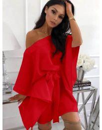 Свободна рокля с колан в червено - код 638