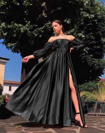 Елегантна дълга дамска рокля в черно - код 1879