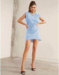 Свободна къса дамска рокля в светло синьо - код 625
