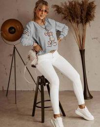 Дамска блуза в сиво с принт - код 2959