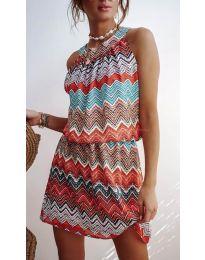 Дамска рокля със свеж десен   в цвят оранжево - код 3317