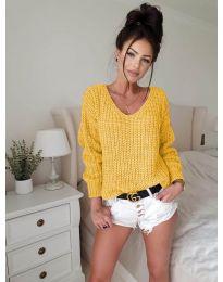 Дамски пуловер в цвят горчица - код 8768
