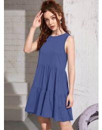 Свободна изчистена рокля в светло синьо - код 4471