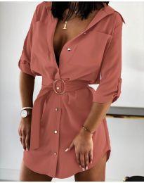 Елегантна рокля тип риза в цвят пудра - код 976