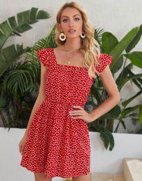 Къса дамска рокля в червено на цветя - код 6525
