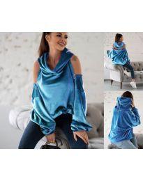 Дамски суитшърт в светло синьо - код 3262