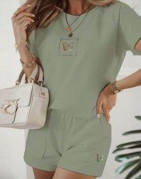 Дамски комплект тениска и къси панталонки в светлозелено - код 11894