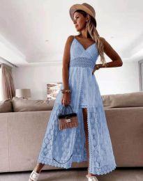 Дамска рокля с дантела в светлосиньо - код 2704