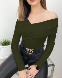 Атрактивна дамска блуза в масленозелено - код 5343