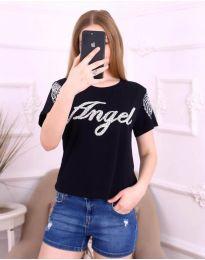 Черна дамска тениска с крила и надпис - код 3544